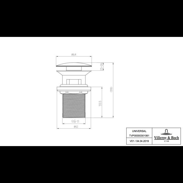 Второе изображение товара Механизм слива Push-Open Villeroy & Boch TVP00000301061