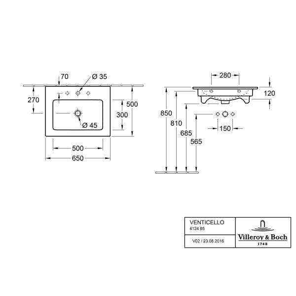Второе изображение товара Раковина Villeroy & Boch Venticello 50 x 65.5 см CeramicPlus 412465R1