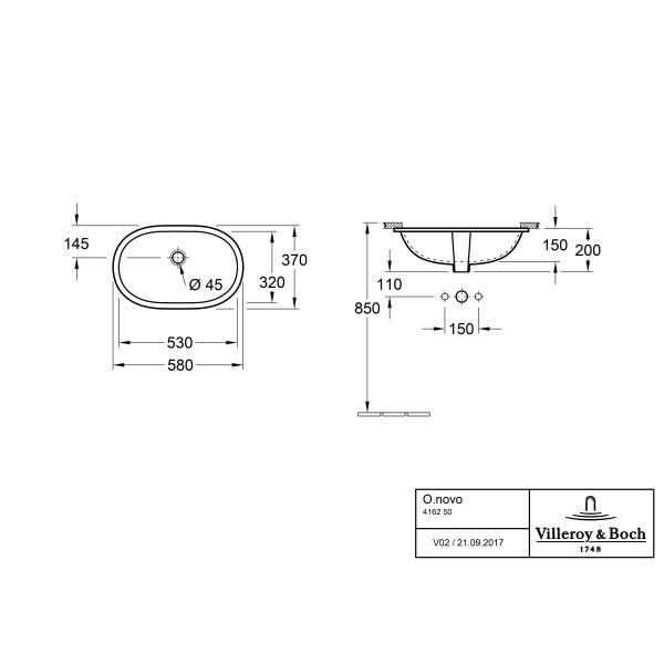 Второе изображение товара Раковина под столешницу Villeroy & Boch O.novo 58 x 37 см 41625001