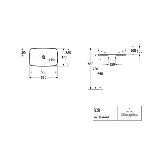 Второе изображение товара Раковина накладная Villeroy & Boch Artis 38.5 x 58.5 см 41725801