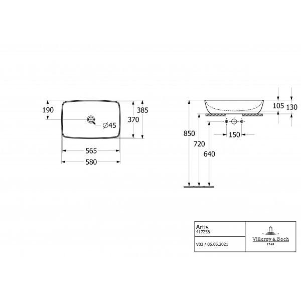 Второе изображение товара Раковина накладная Villeroy & Boch Artis 38.5 x 58.5 см CeramicPlus 417258R1