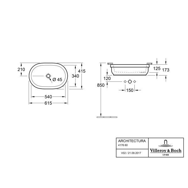 Второе изображение товара Раковина под столешницу Villeroy & Boch Architectura 41.5 x 61.5 см 41766001