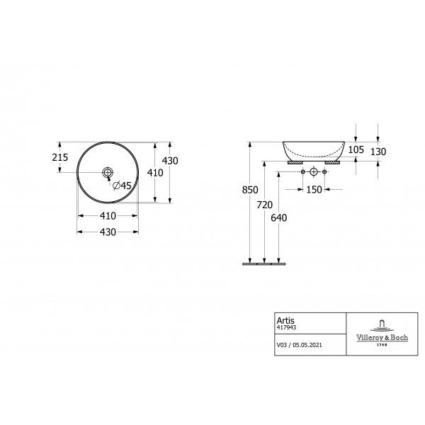 Второе изображение товара Раковина накладная Villeroy & Boch Artis 43 x 43 см Sage Green 417943BCS8