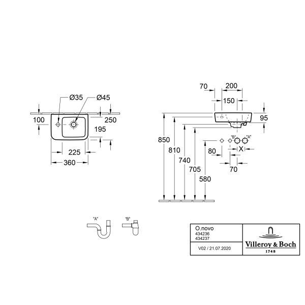 Второе изображение товара Раковина компактная Villeroy & Boch O.novo 36 x 25 см CeramicPlus 434237T2