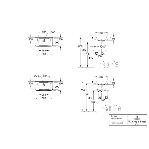 Второе изображение товара Раковина компактная Villeroy & Boch O.novo 50 x 25 см CeramicPlus 4342L5T2