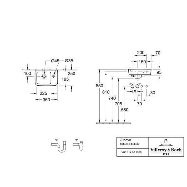 Второе изображение товара Раковина компактная Villeroy & Boch O.novo 36 x 25 см CeramicPlus 434337T2