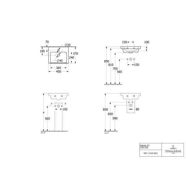 Второе изображение товара Раковина компактная Villeroy & Boch Subway 3.0 45 x 37 см CeramicPlus 437045R1