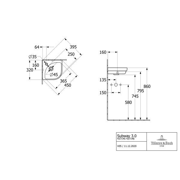 Второе изображение товара Раковина угловая Villeroy & Boch Subway 3.0 32 x 32 см 43714601