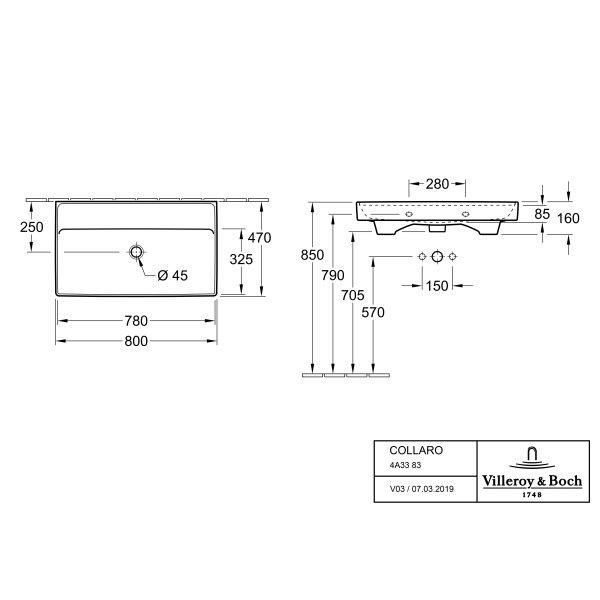 Второе изображение товара Раковина Villeroy & Boch Collaro 46.5 x 80 см 4A338301