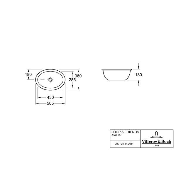 Второе изображение товара Раковина под столешницу Villeroy & Boch Loop & Friends 36 x 50.5 см 61611101