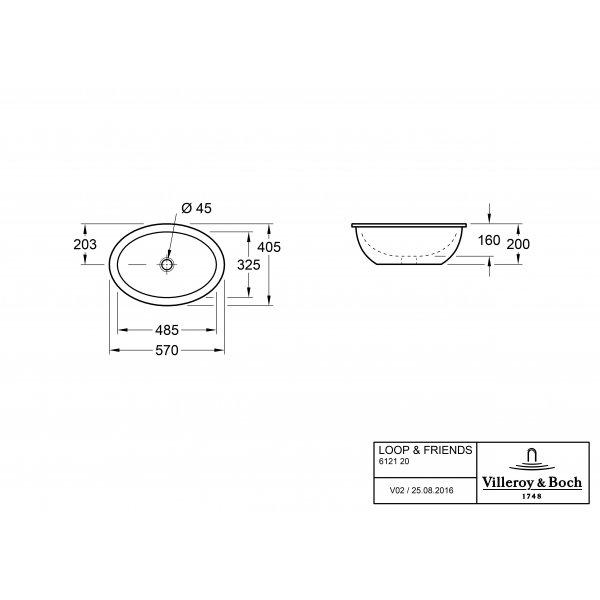 Второе изображение товара Раковина под столешницу Villeroy & Boch Loop & Friends 41 x 57 см CeramicPlus 616120R1