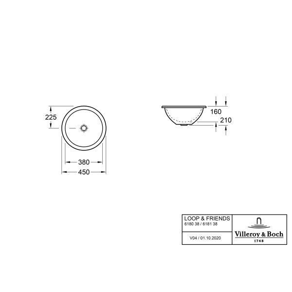 Второе изображение товара Раковина под столешницу Villeroy & Boch Loop & Friends 45 x 45 см CeramicPlus 618138R1