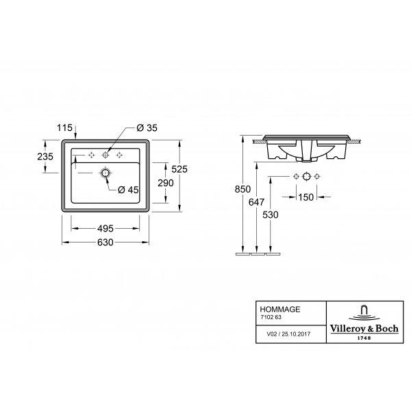 Второе изображение товара Раковина встраиваемая Villeroy & Boch Hommage 52.5 x 63 см CeramicPlus 710263R1