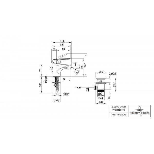Второе изображение товара Смеситель для биде Villeroy & Boch O.novo Start однорычажный TVB10520111061