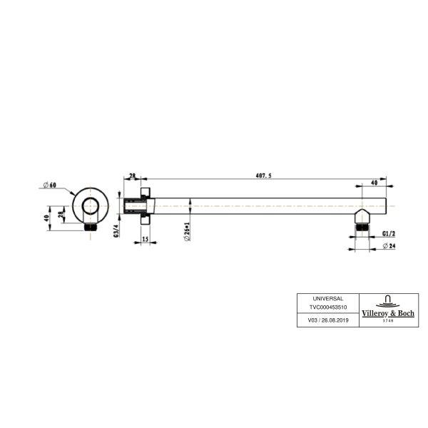 Второе изображение товара Настенный кронштейн для ливневого душа Villeroy & Boch TVC00045351061
