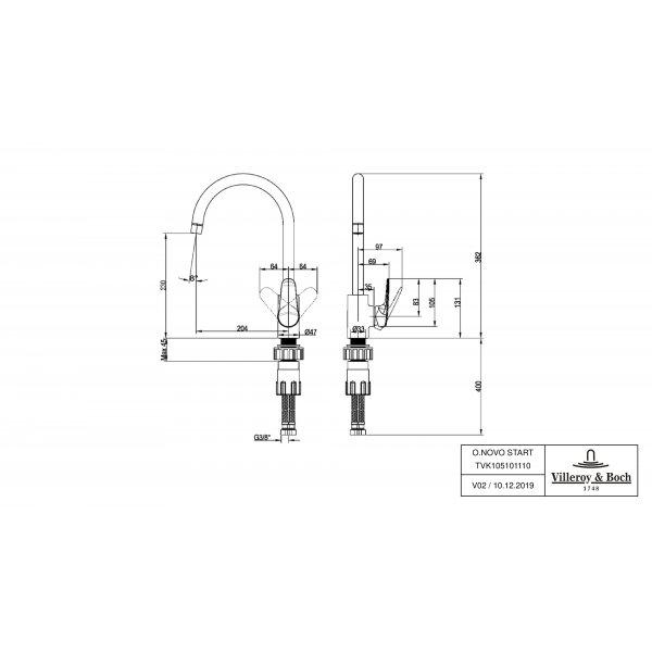 Второе изображение товара Смеситель для кухни Villeroy & Boch O.novo Start однорычажный TVK10510111061