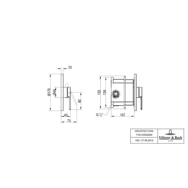 Второе изображение товара Смеситель для душа встраиваемый на 1 выход Villeroy & Boch Architectura однорычажный TVS10335200061