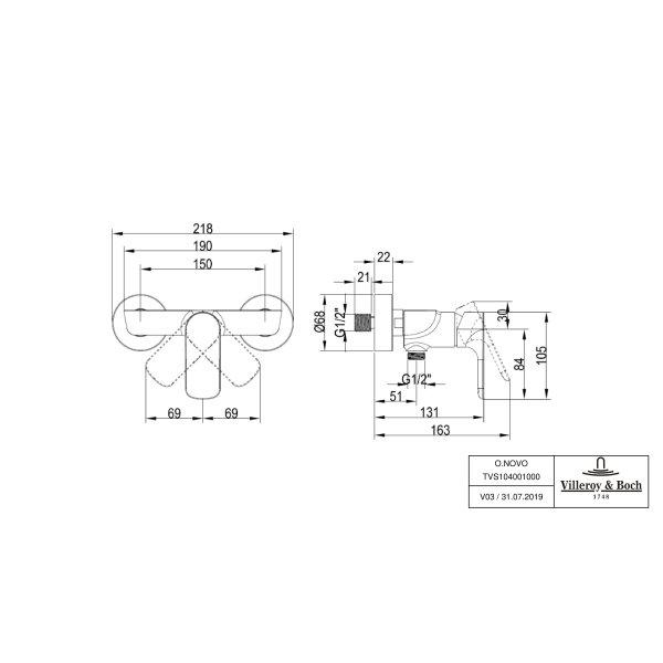 Второе изображение товара Смеситель для душа Villeroy & Boch O.novo однорычажный TVS10400100061