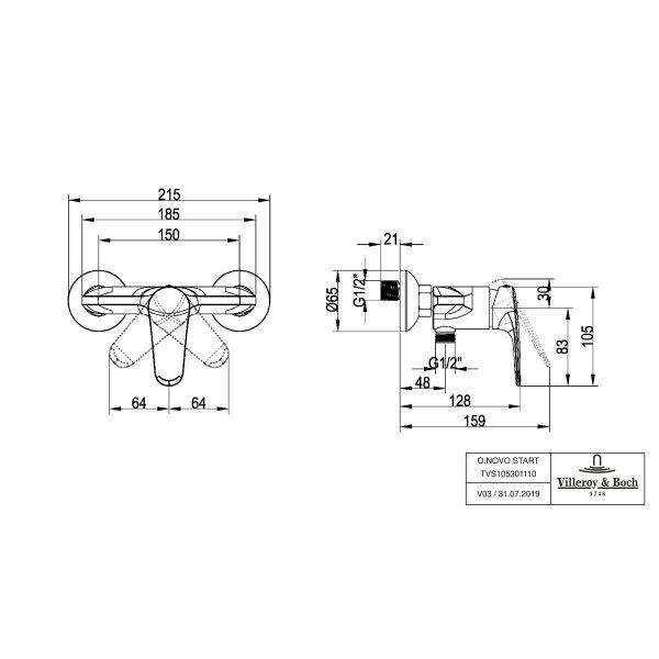 Второе изображение товара Смеситель для душа Villeroy & Boch O.novo Start однорычажный TVS10530111061