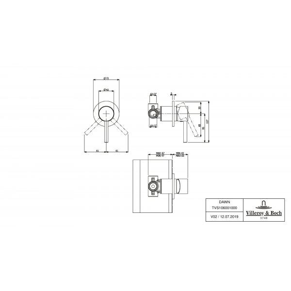 Второе изображение товара Смеситель для душа встраиваемый на 1 выход Villeroy & Boch Dawn однорычажный TVS10600100061