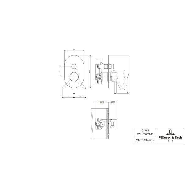 Второе изображение товара Смеситель для душа встраиваемый на 2 выхода Villeroy & Boch Loop&Friends однорычажный TVS10600300061
