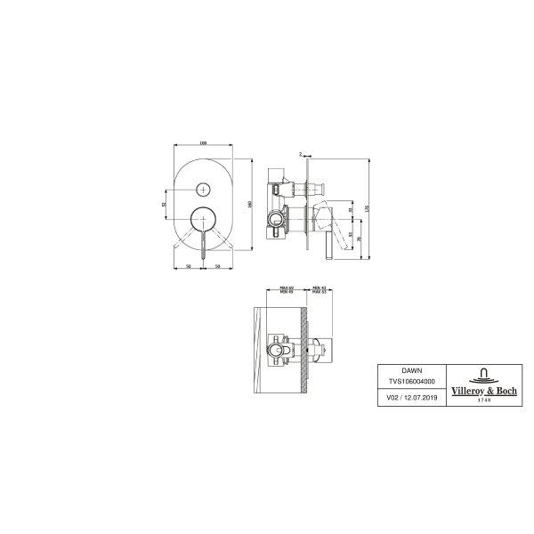 Второе изображение товара Смеситель для душа встраиваемый на 2 выхода Villeroy & Boch Dawn однорычажный TVS10600400061