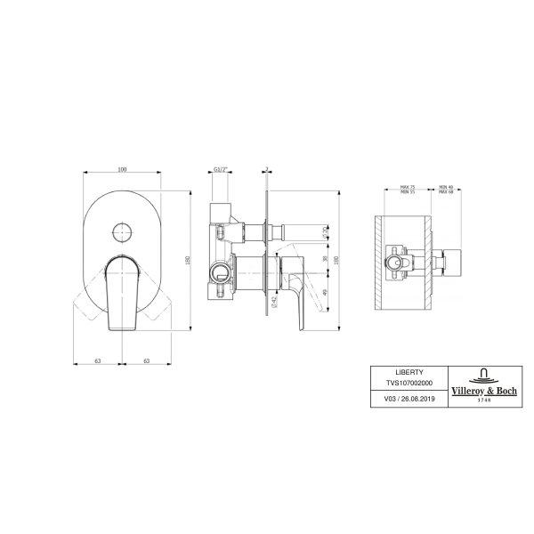 Второе изображение товара Смеситель для душа встраиваемый на 2 выхода Villeroy & Boch Liberty однорычажный TVS10700200061