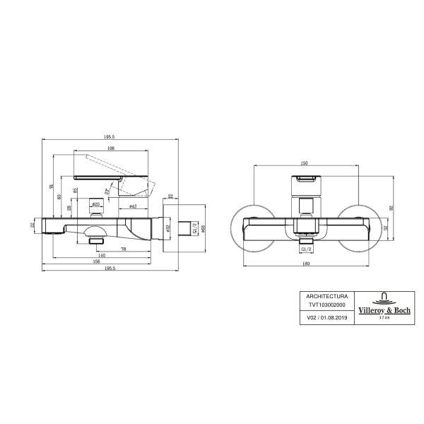 Второе изображение товара Смеситель для ванны Villeroy & Boch Architectura однорычажный TVT10300200061