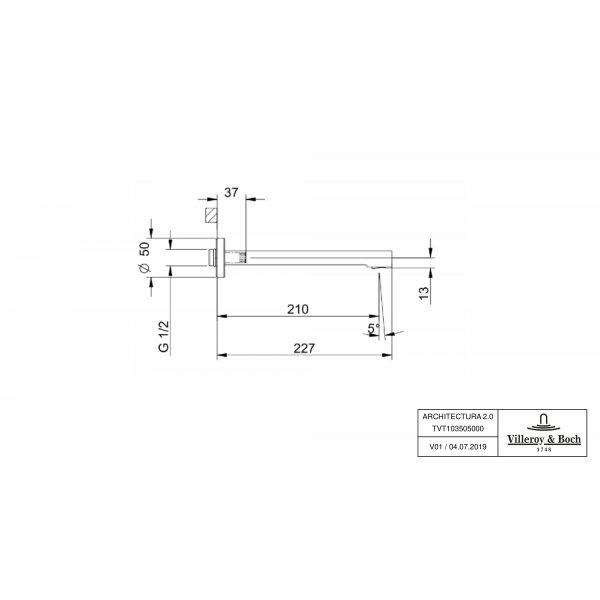 Второе изображение товара Излив Villeroy & Boch Architectura для ванны TVT10350500061