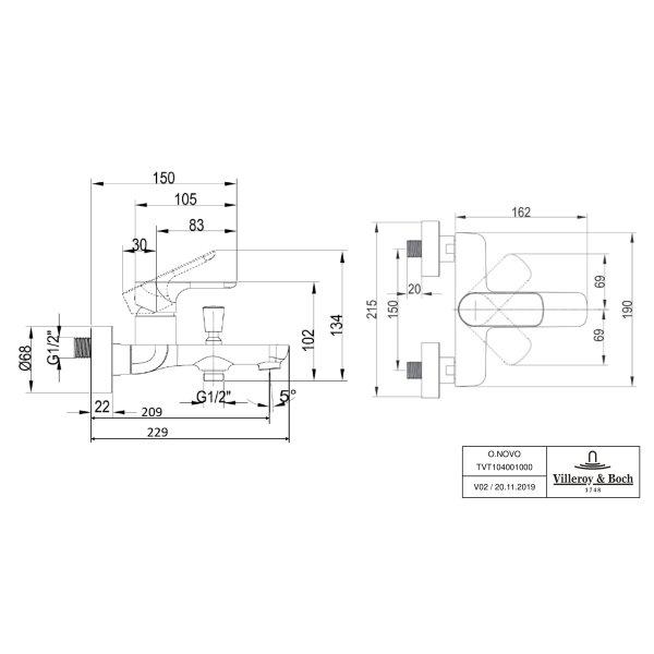 Второе изображение товара Смеситель для ванны Villeroy & Boch O.novo однорычажный TVT10400100061