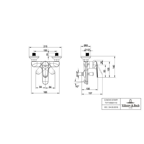 Второе изображение товара Смеситель для ванны Villeroy & Boch O.novo Start однорычажный TVT10550111061
