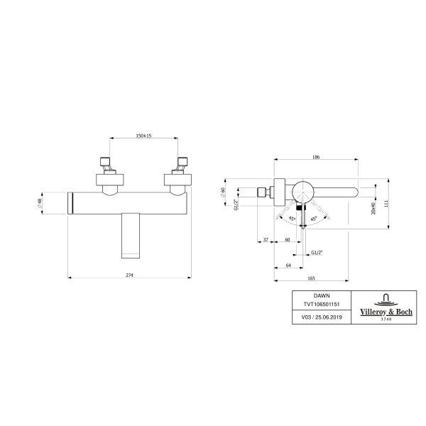 Второе изображение товара Смеситель для ванны Villeroy & Boch Dawn однорычажный TVT10650115161