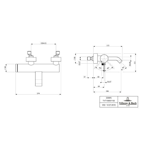 Второе изображение товара Смеситель для ванны Villeroy & Boch Dawn однорычажный TVT10650115261