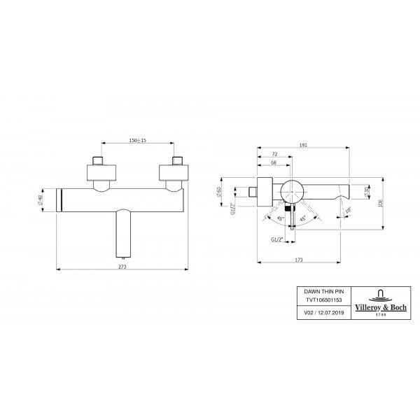 Второе изображение товара Смеситель для ванны Villeroy & Boch Dawn однорычажный TVT10650115361