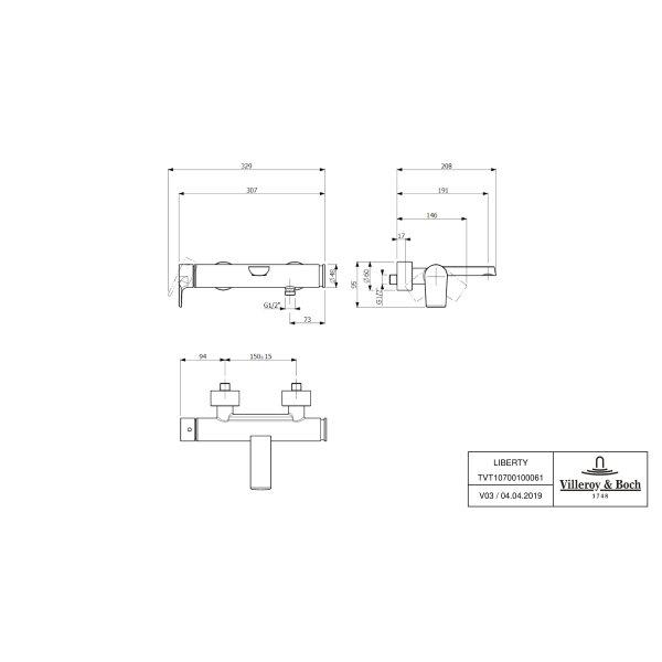 Второе изображение товара Смеситель для ванны Villeroy & Boch Liberty однорычажный TVT10700100061