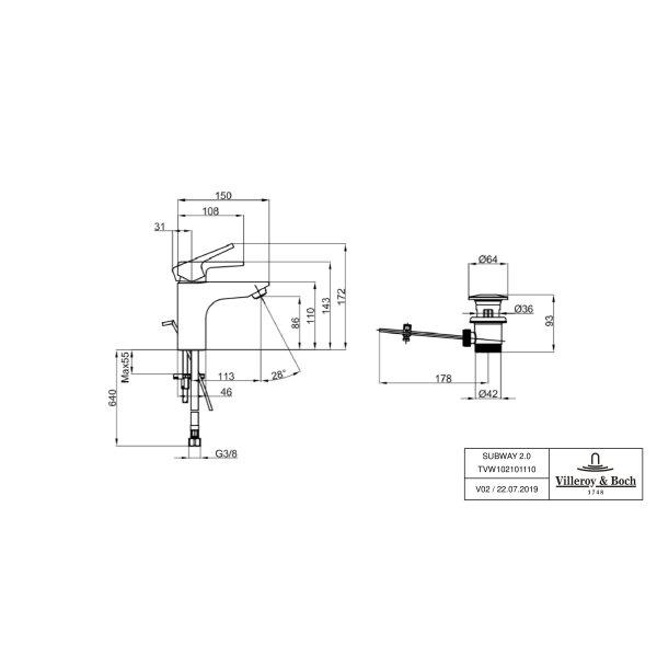 Второе изображение товара Смеситель для раковины Villeroy & Boch Subway 2.0 с донным клапаном TVW10210111061