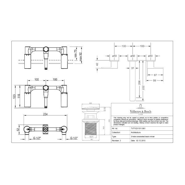 Второе изображение товара Смеситель для ванны или раковины Villeroy & Boch Architectura двухвентильный TVW10311011061