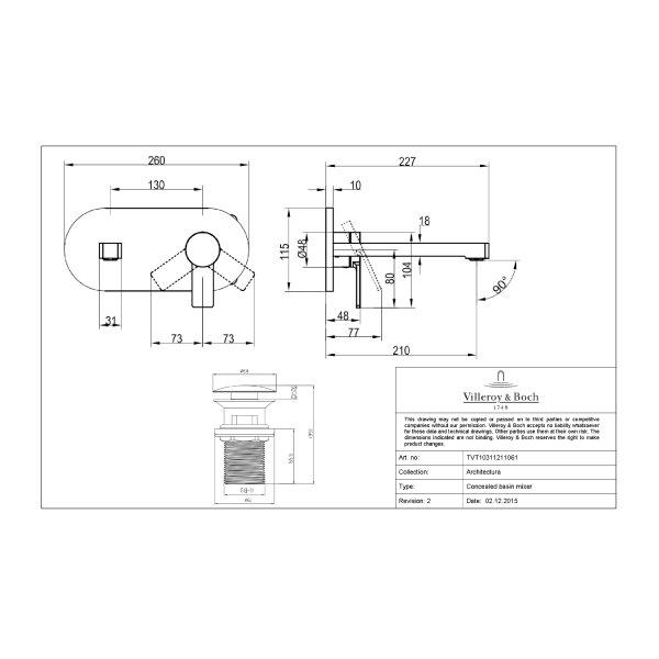 Второе изображение товара Смеситель для раковины Villeroy & Boch Architectura с донным клапаном TVW10311211061