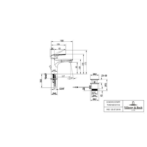 Второе изображение товара Смеситель для раковины Villeroy & Boch O.novo Start с донным клапаном TVW10510111061