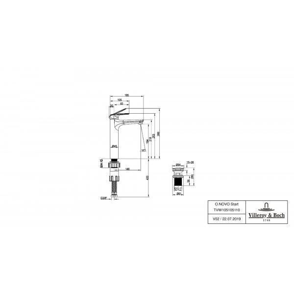 Второе изображение товара Смеситель для раковины Villeroy & Boch O.novo Start высокий с донным клапаном TVW10510511061