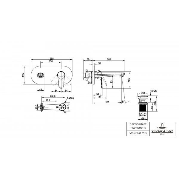 Второе изображение товара Смеситель для раковины Villeroy & Boch O.novo Start встраиваемый с донным клапаном TVW10511211061