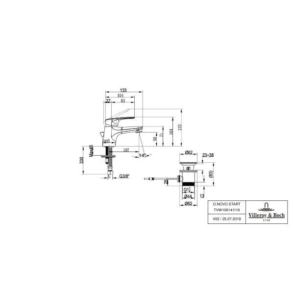 Второе изображение товара Смеситель для раковины Villeroy & Boch O.novo Start с донным клапаном TVW10514111061