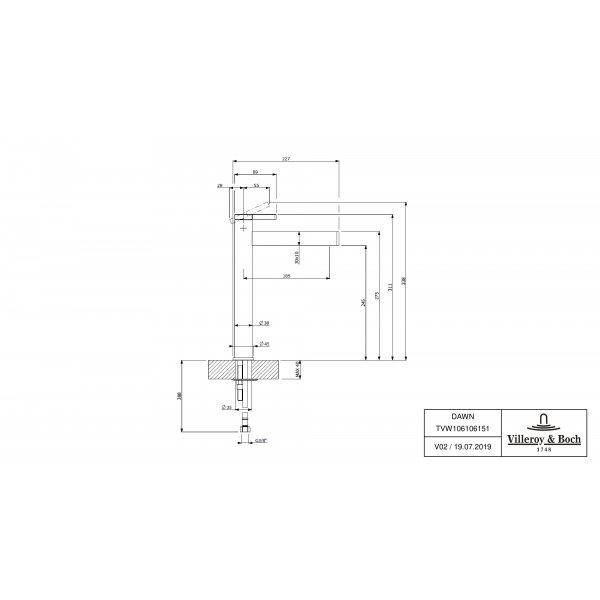 Второе изображение товара Смеситель для раковины Villeroy & Boch Dawn высокий TVW10610615161