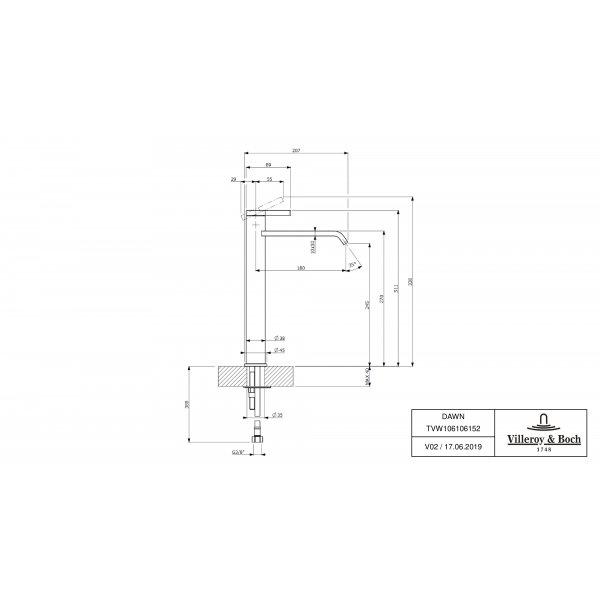 Второе изображение товара Смеситель для раковины Villeroy & Boch Dawn высокий TVW10610615261