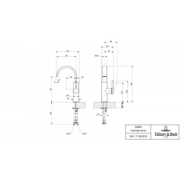 Второе изображение товара Смеситель для раковины Villeroy & Boch Dawn с боковым рычагом TVW10611615161