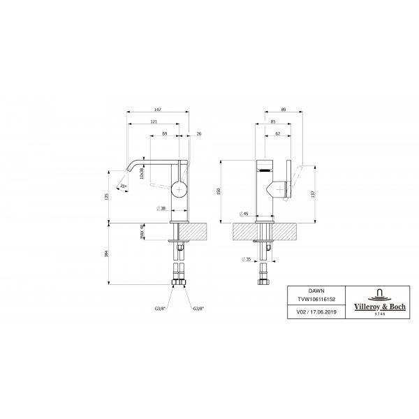 Второе изображение товара Смеситель для раковины Villeroy & Boch Dawn с боковым рычагом TVW10611615261