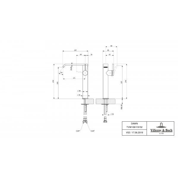 Второе изображение товара Смеситель для раковины Villeroy & Boch Dawn высокий с боковым рычагом TVW10611915261