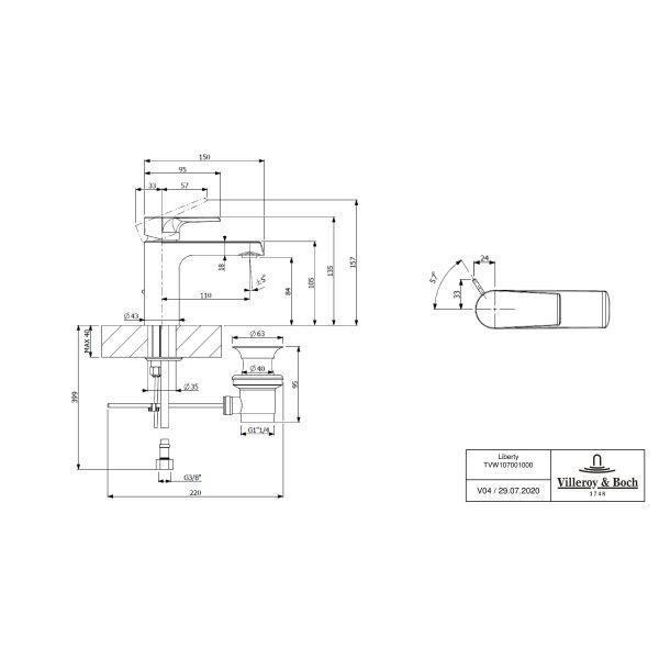 Второе изображение товара Смеситель для раковины Villeroy & Boch Liberty с донным клапаном TVW10700100061
