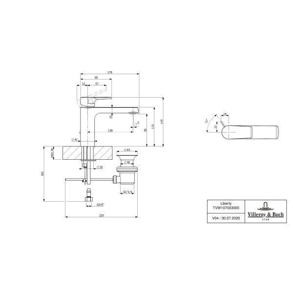 Второе изображение товара Смеситель для раковины Villeroy & Boch Liberty с донным клапаном TVW10700300061