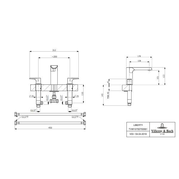 Второе изображение товара Смеситель для ванны или раковины Villeroy & Boch Liberty двухвентильный TVW10700700061